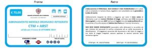 ABBONAMENTO MENSILE ORDINARIO INTEGRATO CTM ARST  euro 70