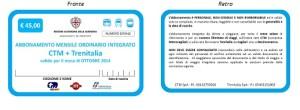 ABBONAMENTO MENSILE ORDINARIO INTEGRATO CTM TRENITALIA euro 45