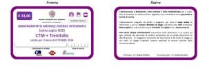 ABBONAMENTO MENSILE OVER65 SOTTO SOGLIA INTEGRATO CTM TRENITALIA euro 33