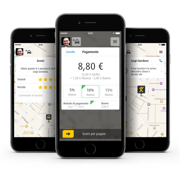 Screenshot mytaxi App_passeggeri